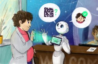 An interactive robot to sign in employees